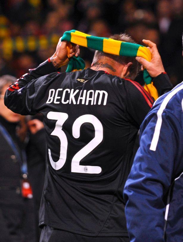 David Beckham Manchester United vs AC Milan Green and Gold #GlazersOut