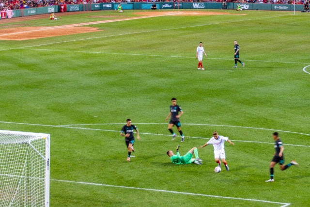 Seville player scores on Liverpool at Fenway Park