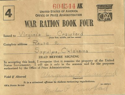 Front Cover of Ration Book.