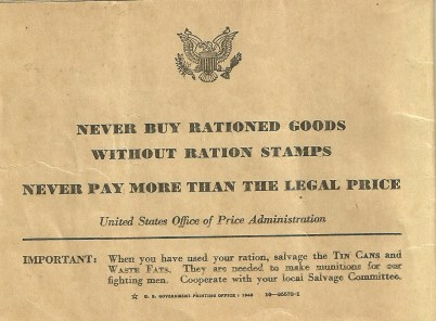 Back Cover of Ration Book