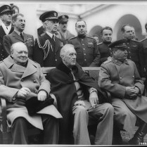 Crimean Conference. Prime Minister Winston Churchill, President Franklin D. Roosevelt and Marshal Joseph Stalin at Yalta. February, 1945. U.S. Signal Corps Photo.