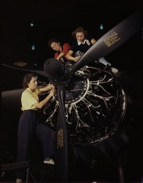 Women Installing Aircraft Engine. Douglas Aircraft, October, 1942. Long Beach, Califiornia. Photo by Alfred Palmer.