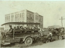 Children Boarding Buses at Greenbank Consolidated School. Pocahontas County, West Virgina. October, 1921. Photo by Lewis Wickes Hines