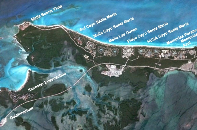 Map of Cuban Resorts and all inclusive hotels on Cayo Santa Maria