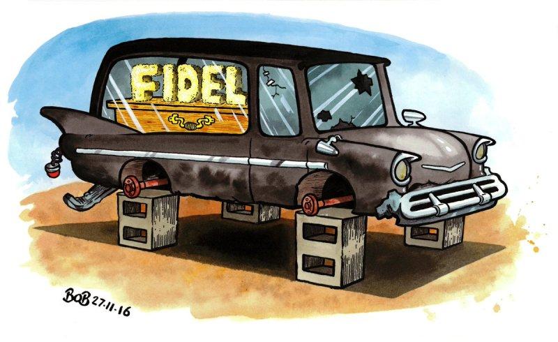 Bob Moran's Castro cartoons