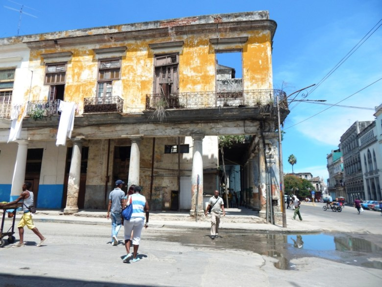 Partially collapsed building in Havana