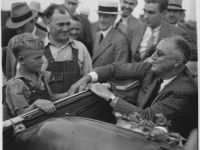 FDR visits with farmers in North Dakota in the 1936 campaign.