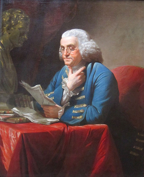 Benjamin Franklin, with bust of Isaac Newton. Portrait by David Martin (1767)