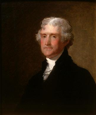 Thomas Jefferson, painted by Gilbert Stuart (1821)