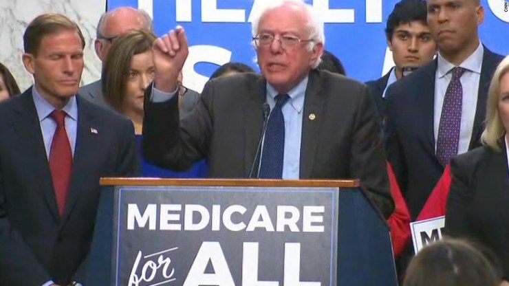 Bernie Sanders Introduces Medicare for All at a Rally in 2017 (credit: CNN)