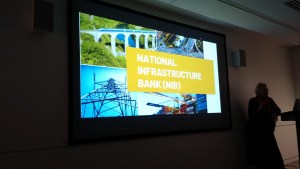 The opening slide of the National Infrastructure Bank slide show.