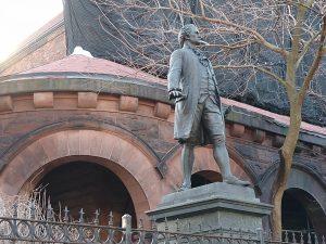 A Hamilton statue at St. Luke's Episcopal Church, close to the Grange.