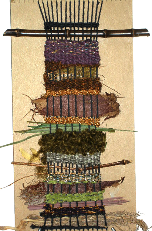 """K-2nd Weaving Introduction"" on Cardboard Notched Loom"", 13""h X 8""w, 4 epi, photo: Lynda Brothers."