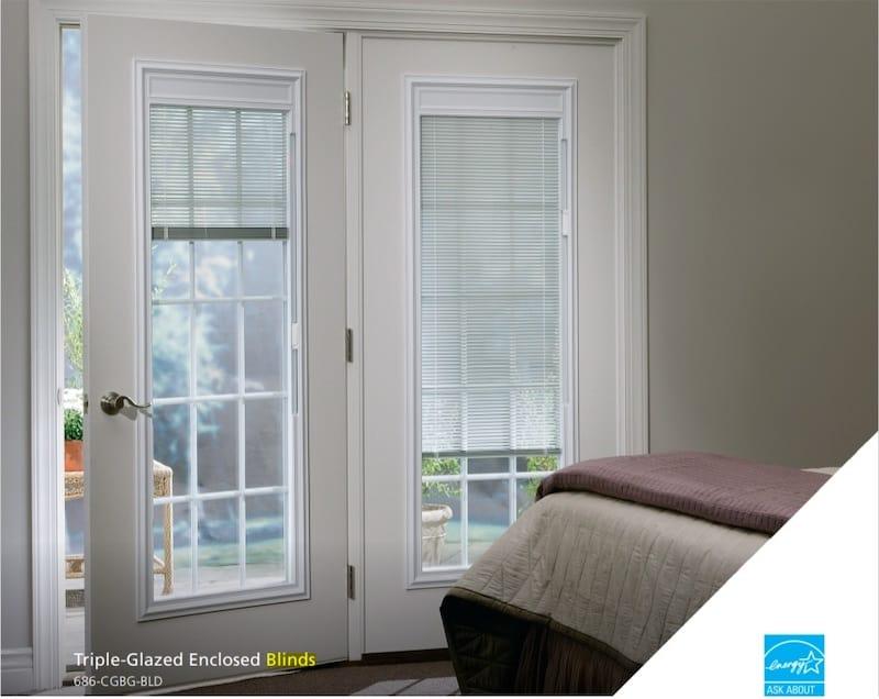 windows doors with built in blinds