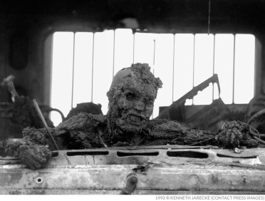 """He was fighting to save his life to the very end, till he was completely burned up,"" Jarecke says of the man he photographed. ""He was trying to get out of that truck."" Highway of Death, Kuwait. [Photo Credit: Kenneth Jarecke Copyright 1992]"
