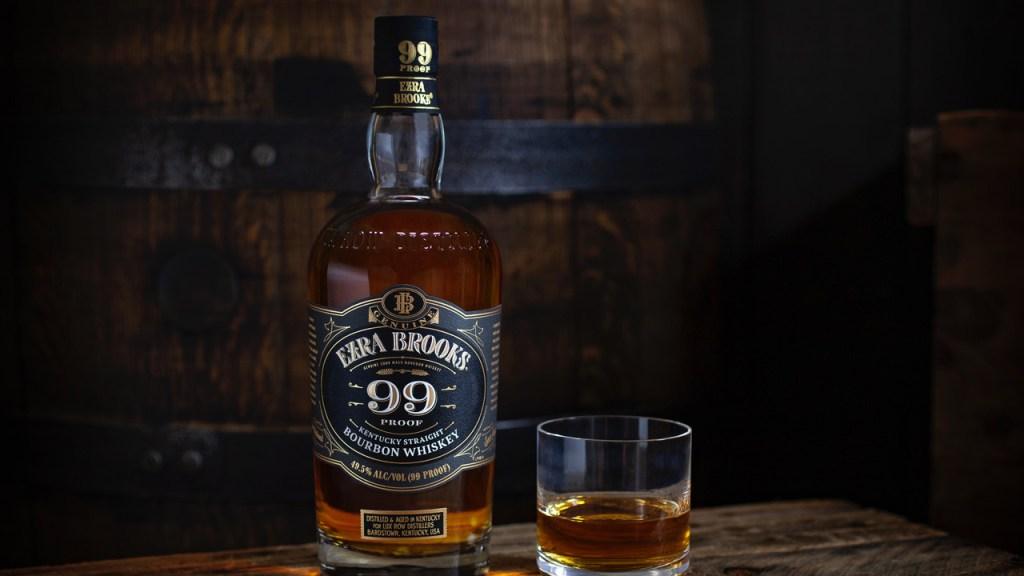 Bottle of Ezra Brooks whiskey and glass of whiskey