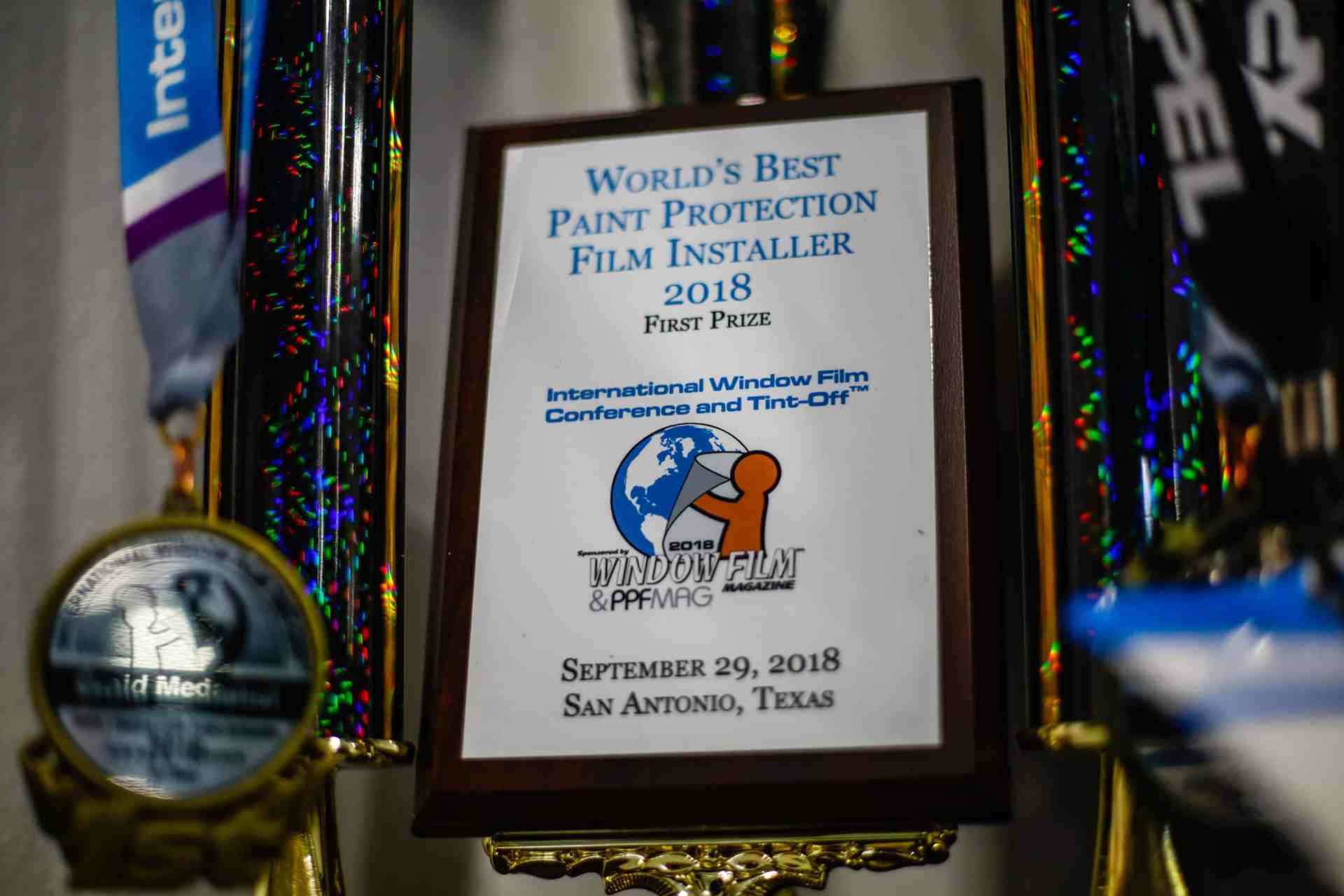 Tyler O'Hara 1st Place World's Best Paint Protection Film Installer 2018 Medal