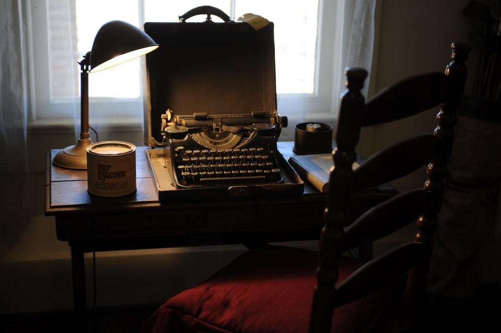 A typewriter on a desk in Faulkner's Rowan Oak