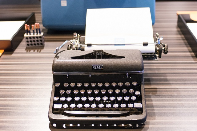 A typewriter in the Story of the Day display