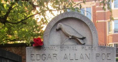 Halloween Books: Grave marker for Edgar Allan Poe's original burial place
