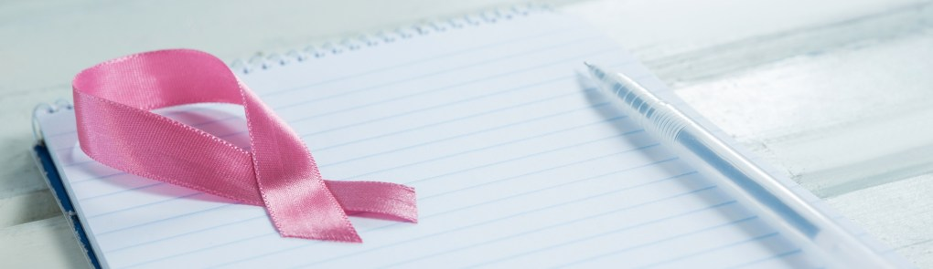 Notebook with Breast Cancer Awareness ribbon and pen