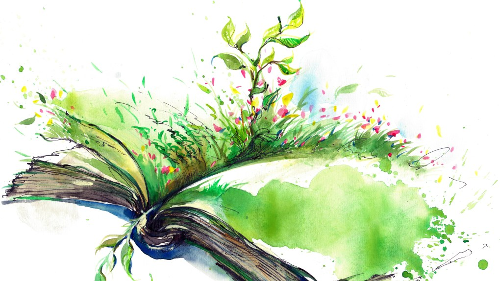 Flowers and grass growing on an open book watercolor