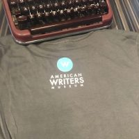 Back of Emily Dickinson quote t-shirt with American Writers Museum logo