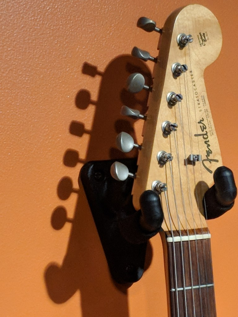 Fender guitar headstock in the special exhibit Bob Dylan: Electric at the American Writers Museum in Chicago