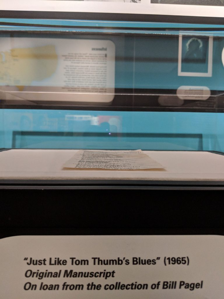 """""""Just Like Tom Thumb's Blues"""" (1965) Original manuscript on loan from the collection of Bill Pagel on display at the American Writers Museum in Chicago in the special exhibit Bob Dylan: Electric"""