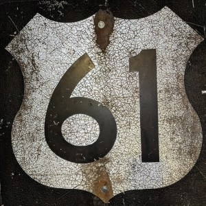 Highway 61 road sign on display at the American Writers Museum