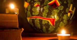 Halloween watermelon jack-o-lantern