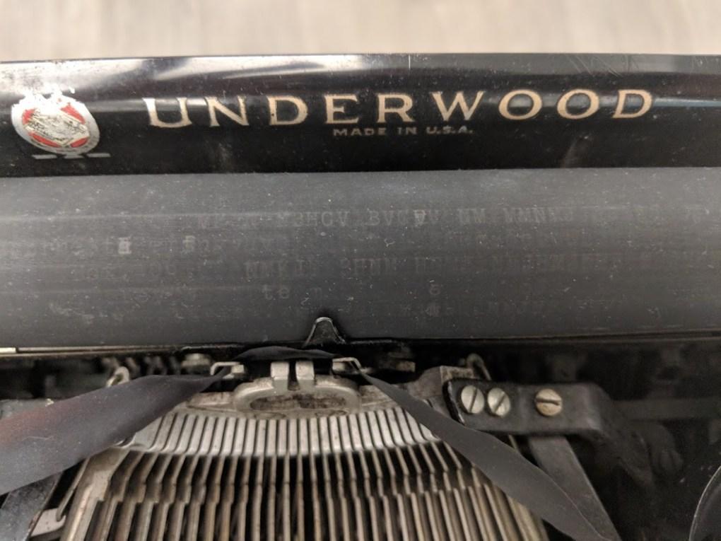 Close-up of Hemingway's Underwood typewriter platen