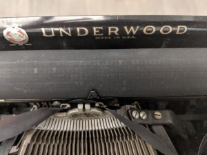 Close-up of Hemingway's Underwood typewriter platen