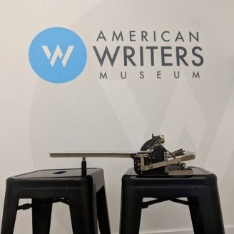 Helen Keller's braille writer on display at the American Writers Museum in Chicago as part of their Tools of the Trade exhibit.