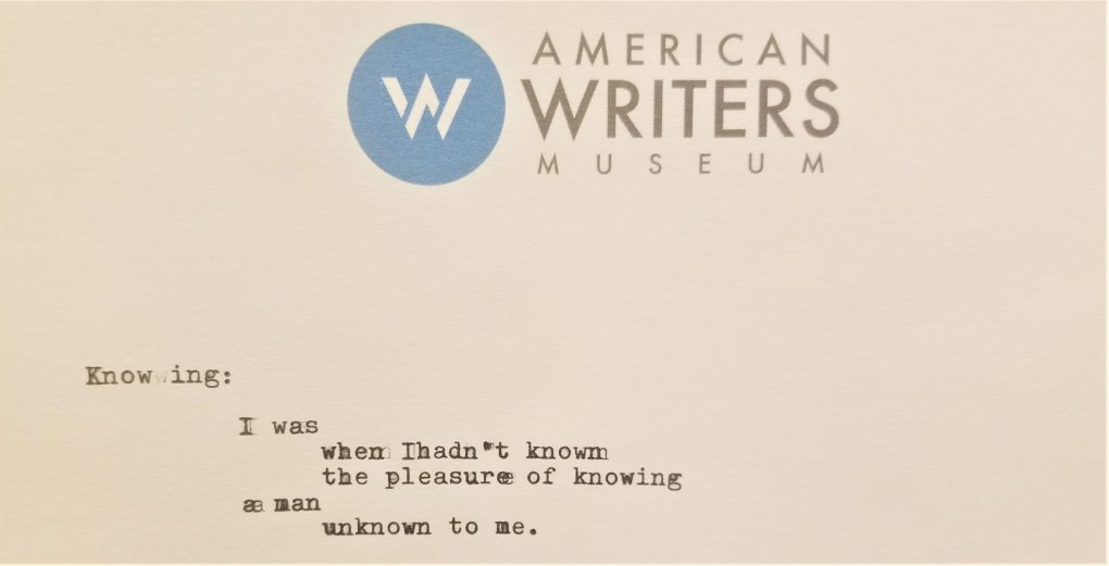 A piece of amateur poetry written at the Story of the Day exhibit at the American Writers Museum in Chicago.
