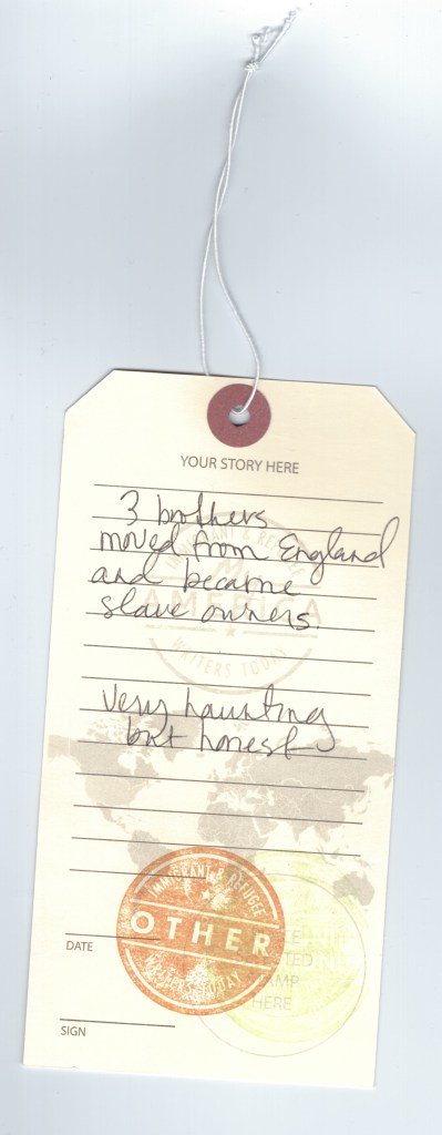 A luggage tag detailing a story written by a visitor to the My America: Immigrant and Refugee Writers Today Exhibit at the American Writers Museum in Chicago