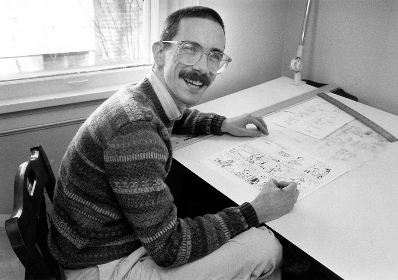 """Bill Watterson, creator of the syndicated cartoon strip """"Calvin & Hobbes"""" is shown in this Feb. 24, 1986 file photo at his home in Chagrin Falls, Ohio."""