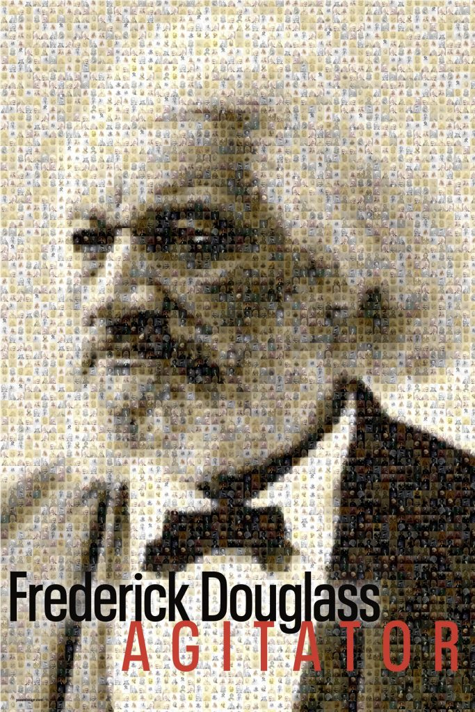 A photo mosaic that forms a portraits of Frederick Douglass from many small portraits of him