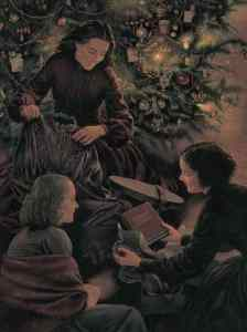 The March sisters open present on Christmas. From the book Little Women written by Louisa May Alcott