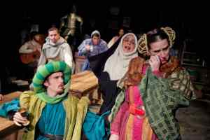 Frank Cervarich (foreground) as The Merchant, Rachel Menyuk as The Nun, Lee Gerstenhaber as The Wife of Bath. Owen McCusker (background) as The Musician, Matt Sparacino as The Knight, Scott Whalen as The Reeve and Maya Jackson as The Host in Canterbury at the Pointless Theatre. (C. Stanley Photography)
