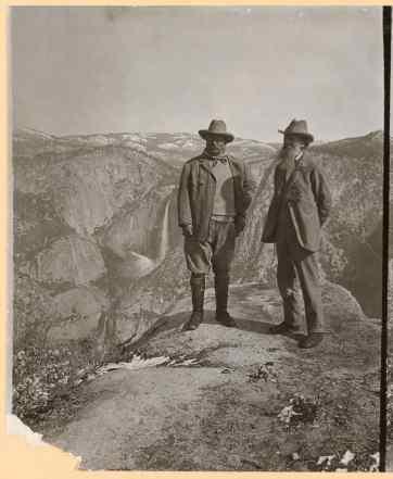 Photo of John Muir and President Theodore Roosevelt in Yosemite Valley, California