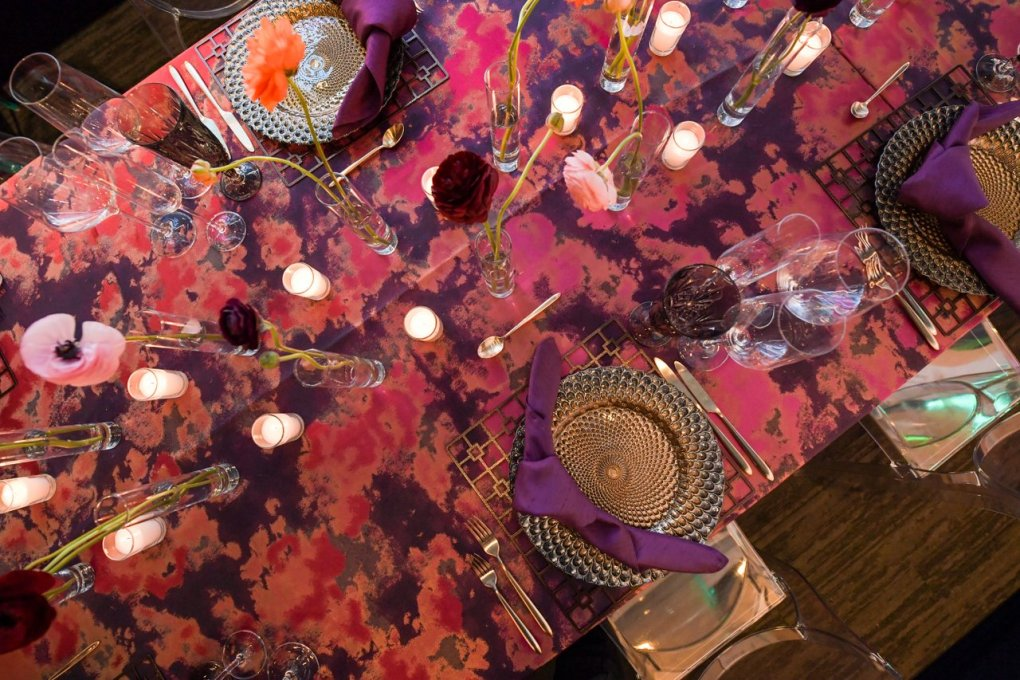 A pink and purple table setting for a private rental event at the American Writers Museum in Chicago