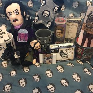 Photograph of Halloween-related items available the American Writers Museum gift shop.