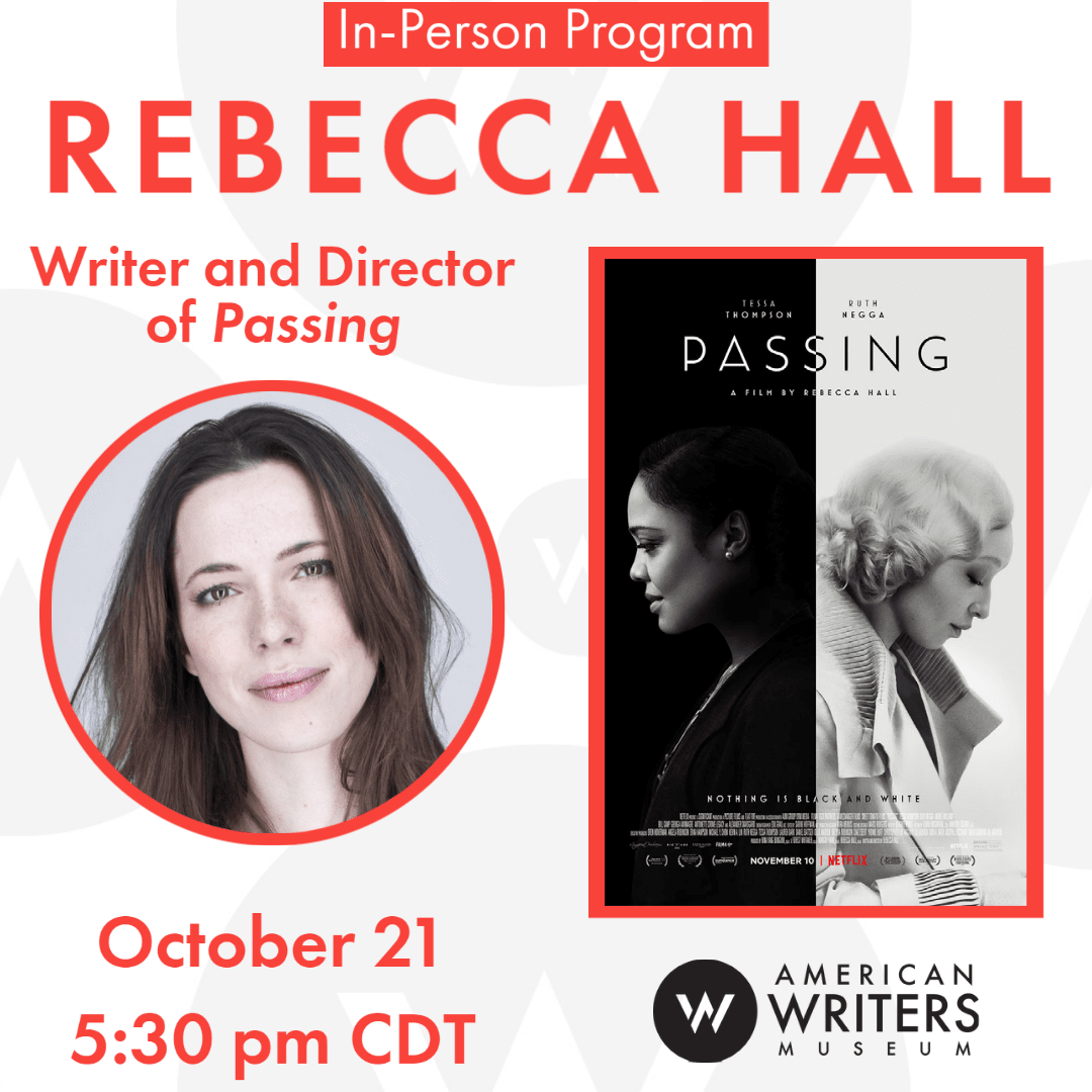 Photo Rebecca Hall and film poster for Passing