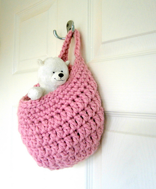 pale rose crochet basket