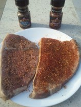 Steaks rubbed with McCormick seasonings
