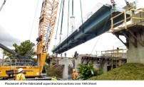 Placement of Pre-fabricated superstructure sections over 10th Street 1
