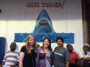 JAWS CORNER is a Stone Town hub where Zanzibaris can drink strong black coffee and loudly debate the upcoming elections.AUA Volunteers Katrina Marks and Brieanna Griffin -- here with Director Ulrica de Silva -- had to assure their parents there were no Great Whites lurking offshore.