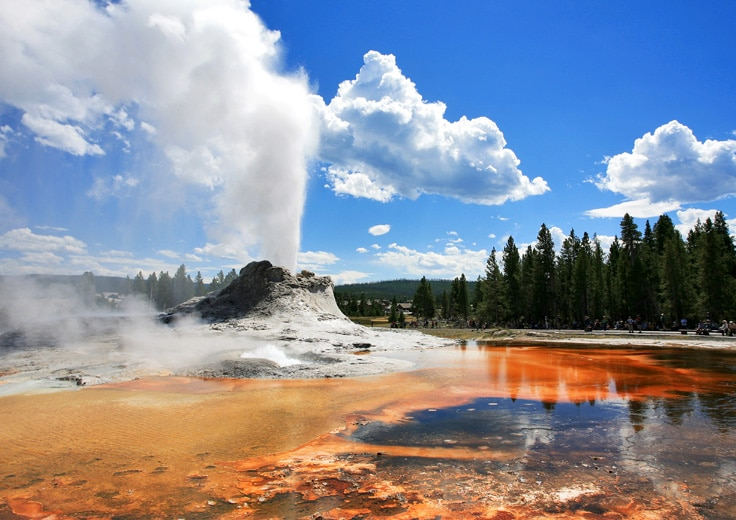 Yellowstone Geyser with blue sky