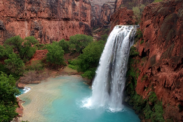 Waterfall with Red Rocks